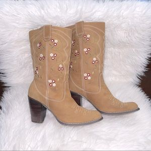 Rose embroidered Yellowstone Style Western Boots
